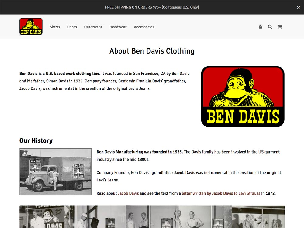 Ben Davis Clothing About Page