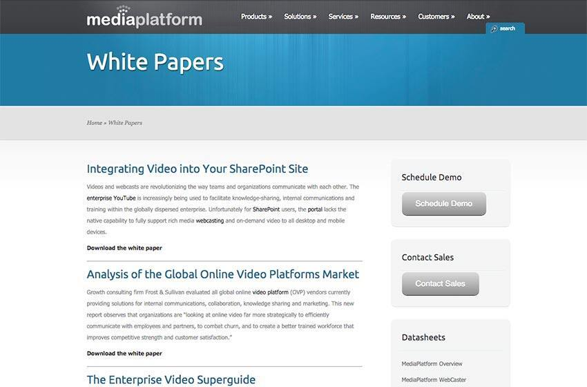 MediaPlatform Previous Site White Papers Archive
