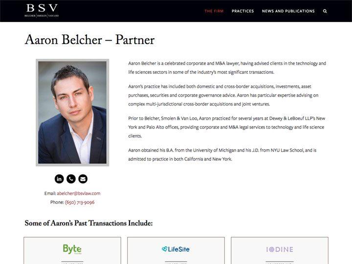 BSV Aaron Belcher Team Member Page