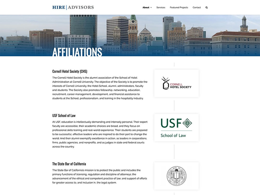 HIRE Advisors Affiliations Page
