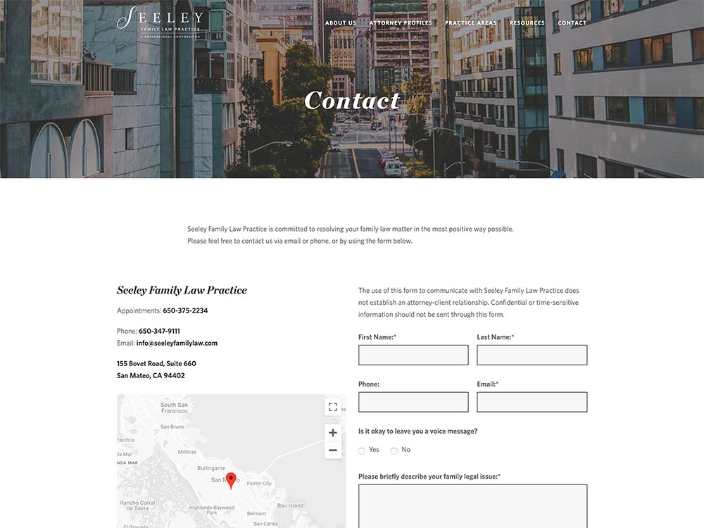 Seeley Family Law Practice Contact Page