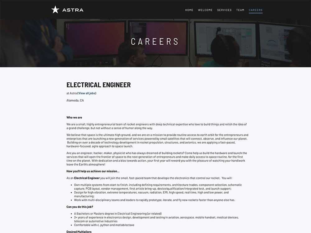 Astra Single Career Page